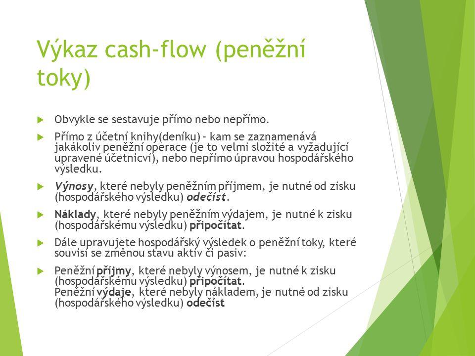 Výkaz cash-flow (peněžní toky)  Obvykle se sestavuje přímo nebo nepřímo.