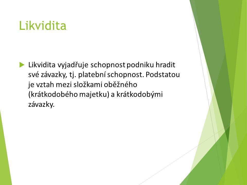 Likvidita  Likvidita vyjadřuje schopnost podniku hradit své závazky, tj.