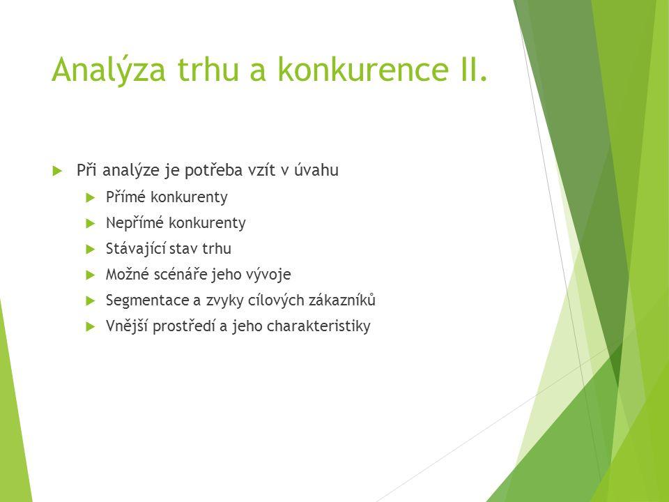 Analýza trhu a konkurence II.