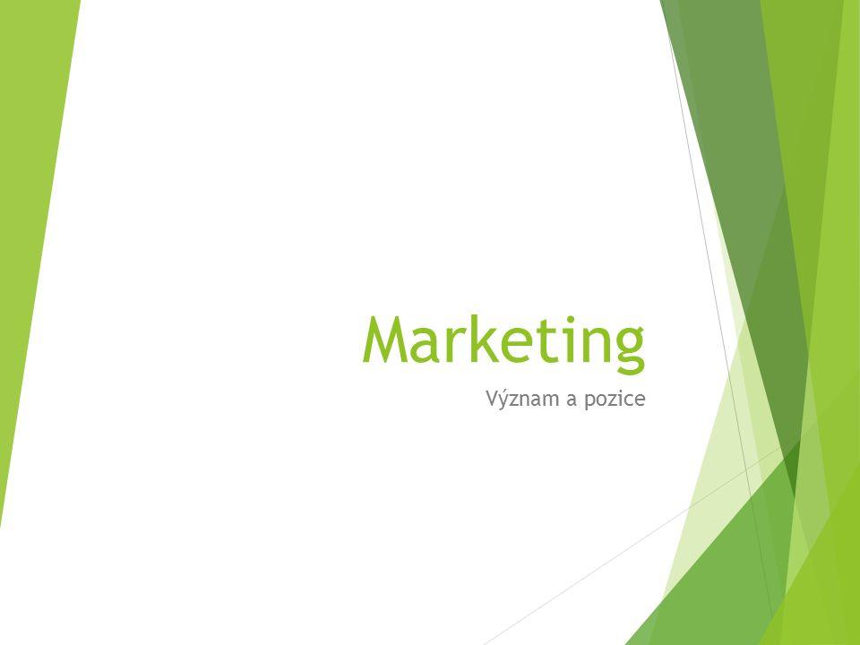 Marketing Význam a pozice
