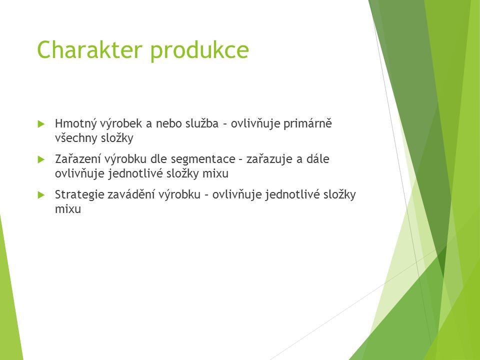 Charakter produkce  Hmotný výrobek a nebo služba – ovlivňuje primárně všechny složky  Zařazení výrobku dle segmentace – zařazuje a dále ovlivňuje jednotlivé složky mixu  Strategie zavádění výrobku – ovlivňuje jednotlivé složky mixu