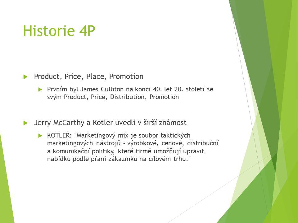 Historie 4P  Product, Price, Place, Promotion  Prvním byl James Culliton na konci 40.