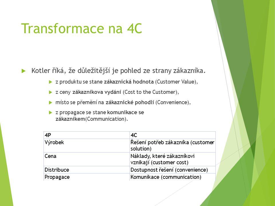 Transformace na 4C  Kotler říká, že důležitější je pohled ze strany zákazníka.