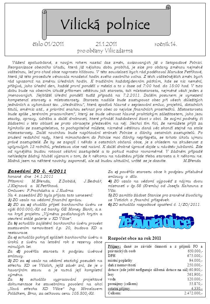 Vilická polnice číslo 01/2011 21.1.2011 ročník 14.