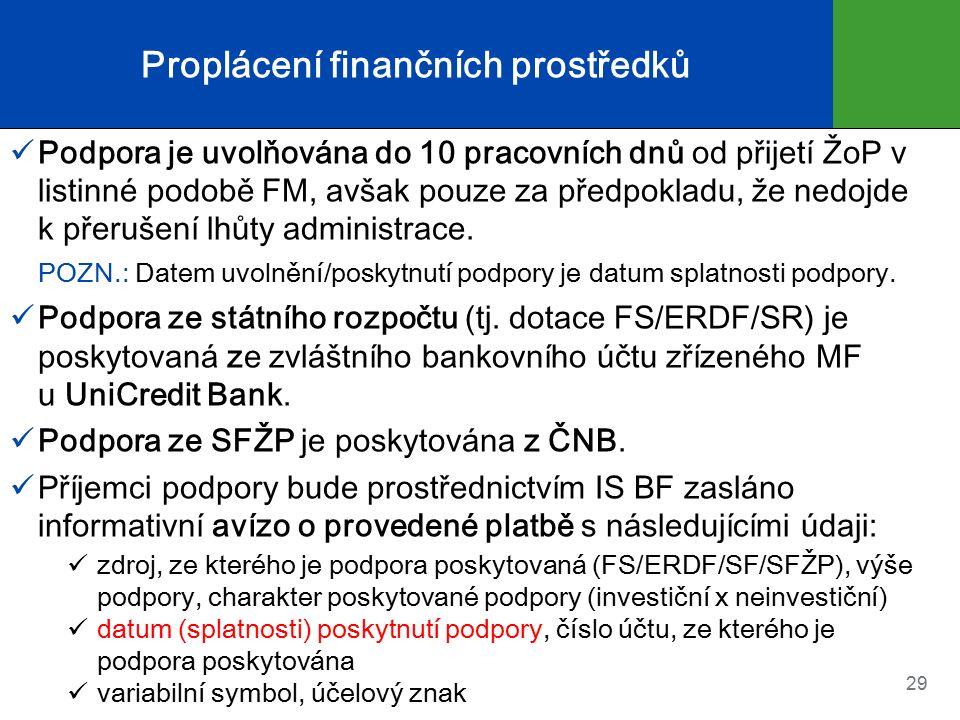 Proplácení finančních prostředků Podpora je uvolňována do 10 pracovních dnů od přijetí ŽoP v listinné podobě FM, avšak pouze za předpokladu, že nedojde k přerušení lhůty administrace.