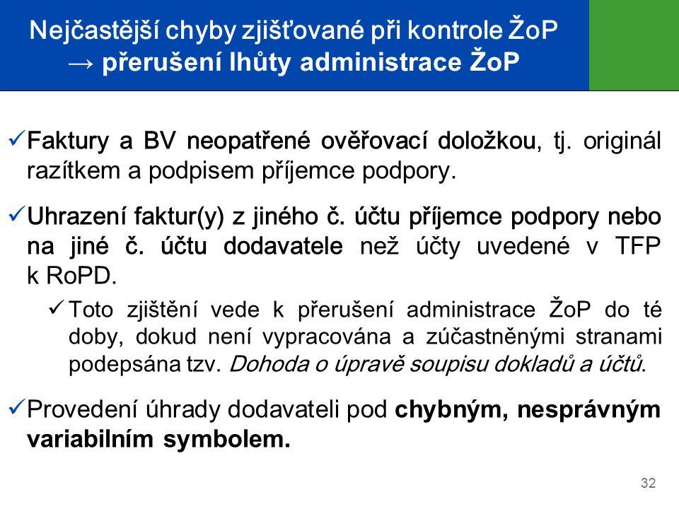 Nejčastější chyby zjišťované při kontrole ŽoP → přerušení lhůty administrace ŽoP Faktury a BV neopatřené ověřovací doložkou, tj.