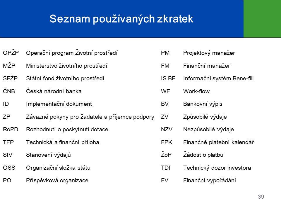 Seznam používaných zkratek OPŽPOperační program Životní prostředíPMProjektový manažer MŽPMinisterstvo životního prostředíFMFinanční manažer SFŽPStátní fond životního prostředíIS BFInformační systém Bene-fill ČNBČeská národní bankaWFWork-flow IDImplementační dokumentBVBankovní výpis ZPZávazné pokyny pro žadatele a příjemce podporyZVZpůsobilé výdaje RoPDRozhodnutí o poskytnutí dotaceNZVNezpůsobilé výdaje TFPTechnická a finanční přílohaFPKFinančně platební kalendář StVStanovení výdajůŽoPŽádost o platbu OSSOrganizační složka státuTDITechnický dozor investora POPříspěvková organizace FVFinanční vypořádání 39