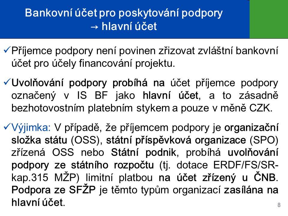 Bankovní účet pro poskytování podpory → hlavní účet Příjemce podpory není povinen zřizovat zvláštní bankovní účet pro účely financování projektu.