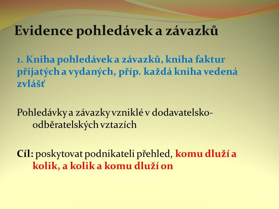 Evidence pohledávek a závazků 1. Kniha pohledávek a závazků, kniha faktur přijatých a vydaných, příp. každá kniha vedená zvlášť Pohledávky a závazky v