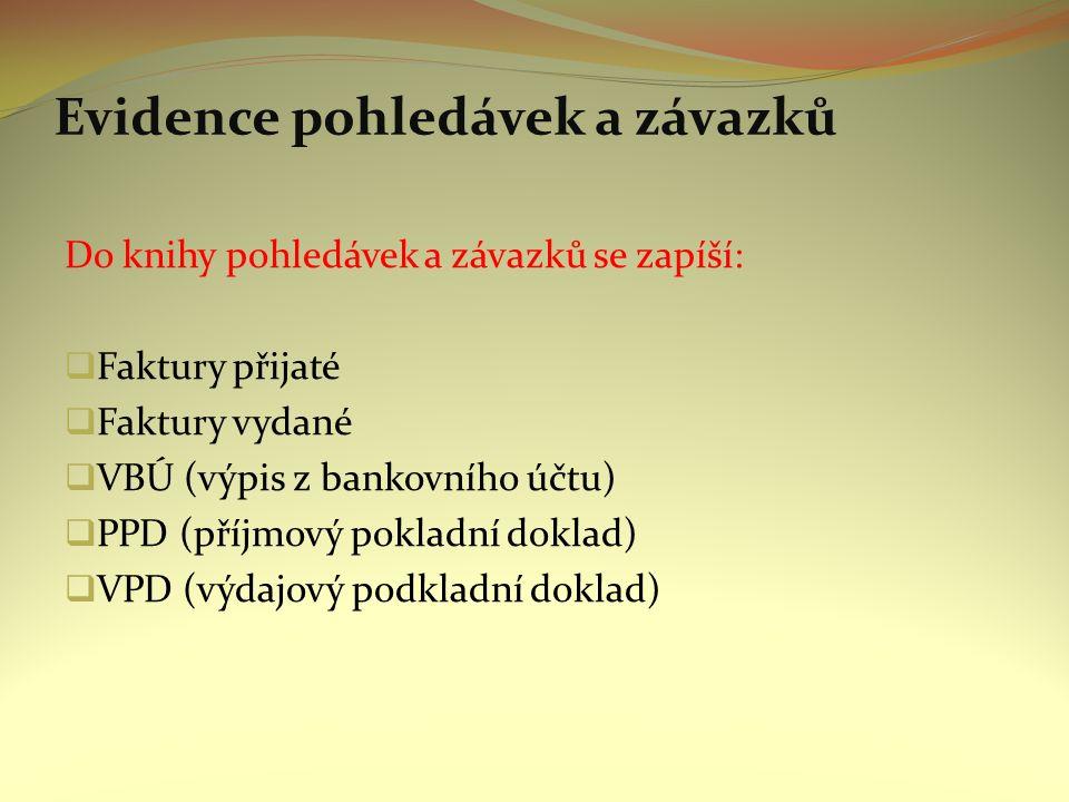 Evidence pohledávek a závazků Do knihy pohledávek a závazků se zapíší:  Faktury přijaté  Faktury vydané  VBÚ (výpis z bankovního účtu)  PPD (příjmový pokladní doklad)  VPD (výdajový podkladní doklad)