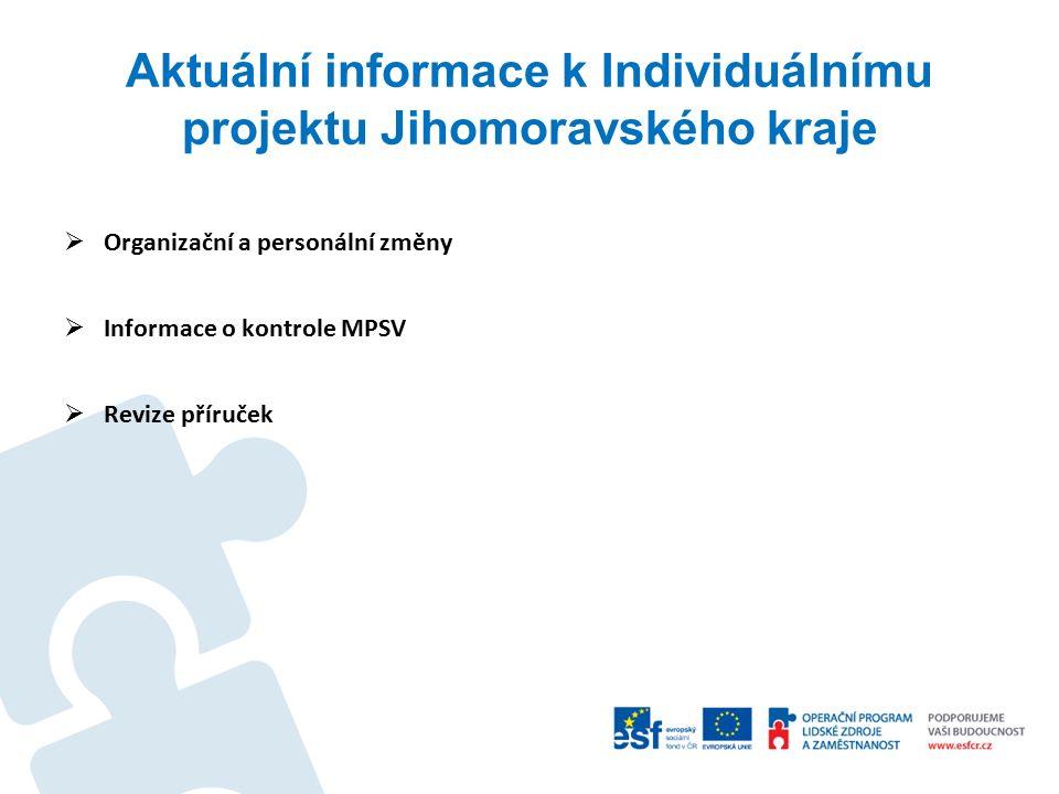 Aktuální informace k Individuálnímu projektu Jihomoravského kraje  Organizační a personální změny  Informace o kontrole MPSV  Revize příruček