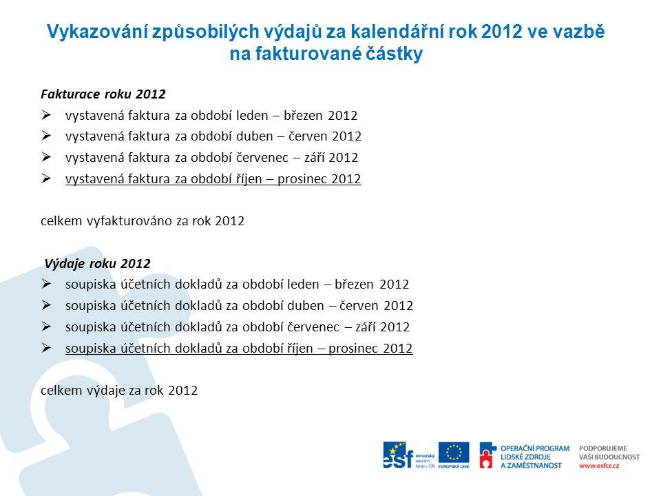 Vykazování způsobilých výdajů za kalendářní rok 2012 ve vazbě na fakturované částky Fakturace roku 2012  vystavená faktura za období leden – březen 2