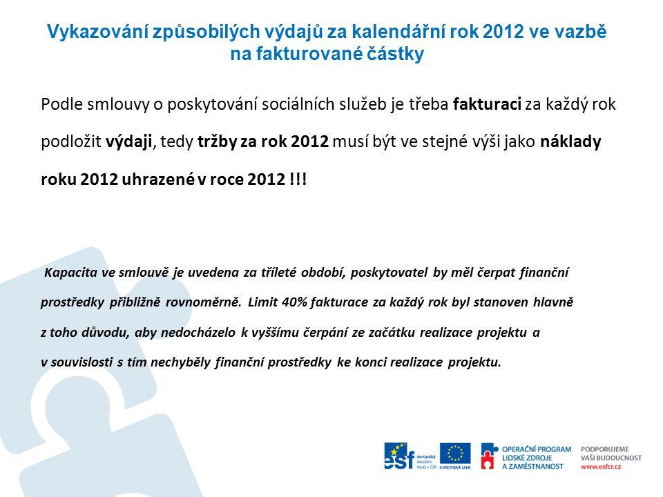 Vykazování způsobilých výdajů za kalendářní rok 2012 ve vazbě na fakturované částky Podle smlouvy o poskytování sociálních služeb je třeba fakturaci za každý rok podložit výdaji, tedy tržby za rok 2012 musí být ve stejné výši jako náklady roku 2012 uhrazené v roce 2012 !!.