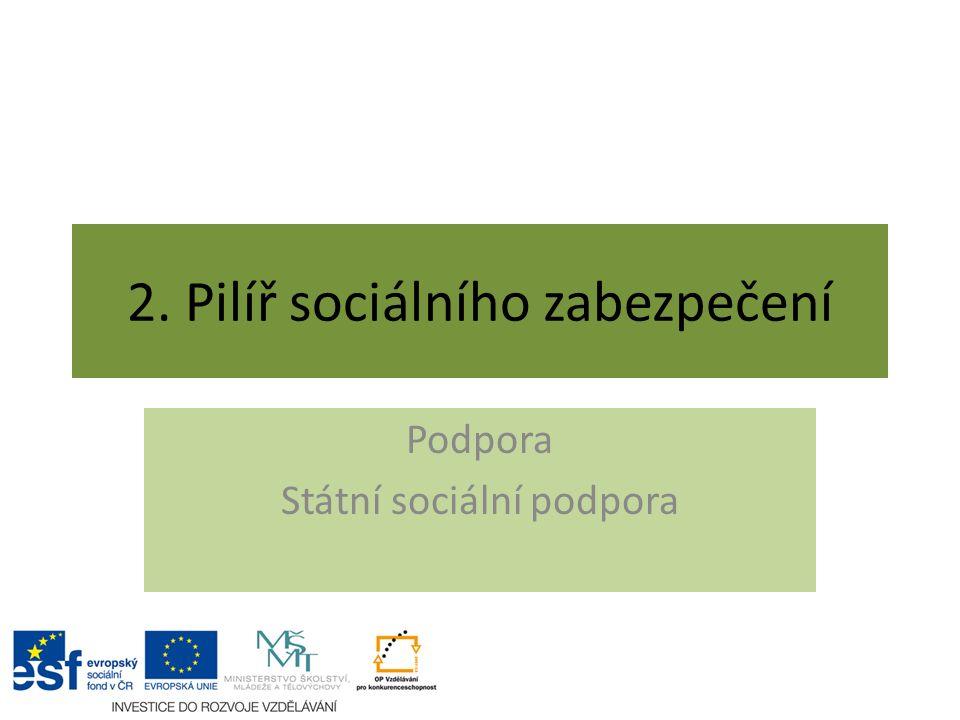 2. Pilíř sociálního zabezpečení Podpora Státní sociální podpora