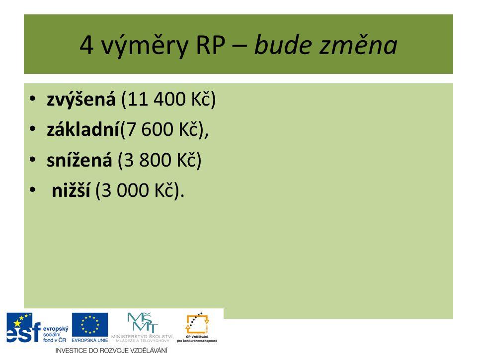 4 výměry RP – bude změna zvýšená (11 400 Kč) základní(7 600 Kč), snížená (3 800 Kč) nižší (3 000 Kč).
