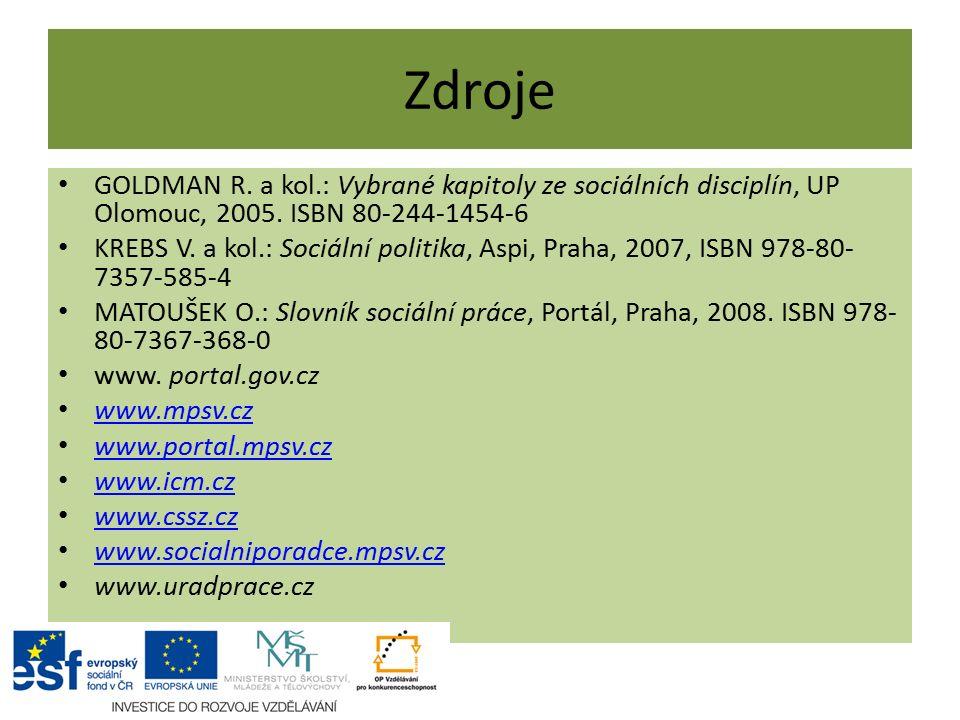 Zdroje GOLDMAN R. a kol.: Vybrané kapitoly ze sociálních disciplín, UP Olomouc, 2005.