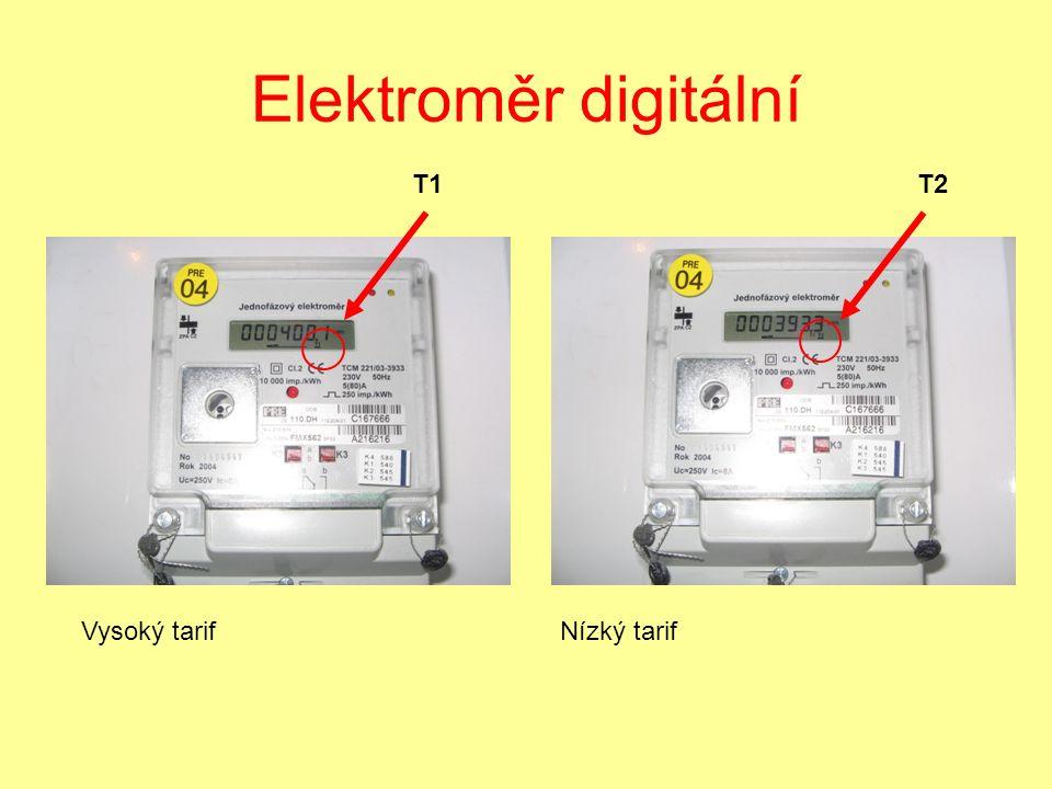 Elektroměr digitální Vysoký tarif Nízký tarif T1 T2