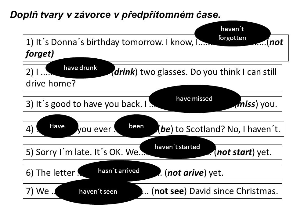 1) It´s Donna´s birthday tomorrow. I know, I............................(not forget) 2) I............................ (drink) two glasses. Do you thin