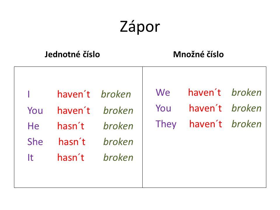 Zápor Jednotné číslo I haven´tbroken You haven´t broken He hasn´t broken She hasn´t broken It hasn´t broken Množné číslo We haven´t broken You haven´t broken They haven´t broken