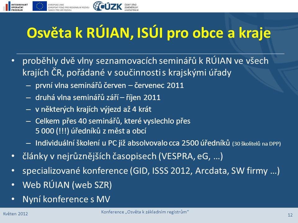 Osvěta k RÚIAN, ISÚI pro obce a kraje proběhly dvě vlny seznamovacích seminářů k RÚIAN ve všech krajích ČR, pořádané v součinnosti s krajskými úřady –