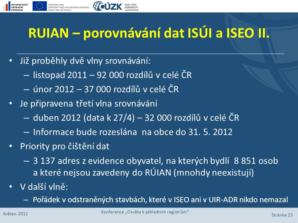 RUIAN – porovnávání dat ISÚI a ISEO II. Již proběhly dvě vlny srovnávání: – listopad 2011 – 92 000 rozdílů v celé ČR – únor 2012 – 37 000 rozdílů v ce