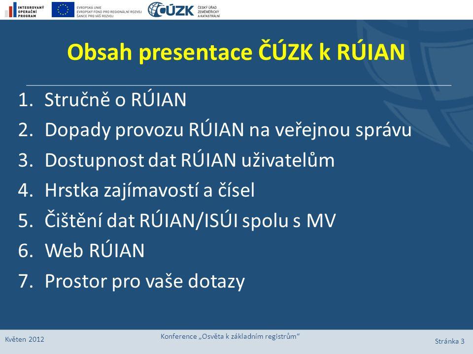 Obsah presentace ČÚZK k RÚIAN 1.Stručně o RÚIAN 2.Dopady provozu RÚIAN na veřejnou správu 3.Dostupnost dat RÚIAN uživatelům 4.Hrstka zajímavostí a čís