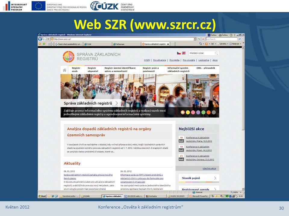 """Web SZR (www.szrcr.cz) Květen 2012 Konference """"Osvěta k základním registrům"""" 30"""