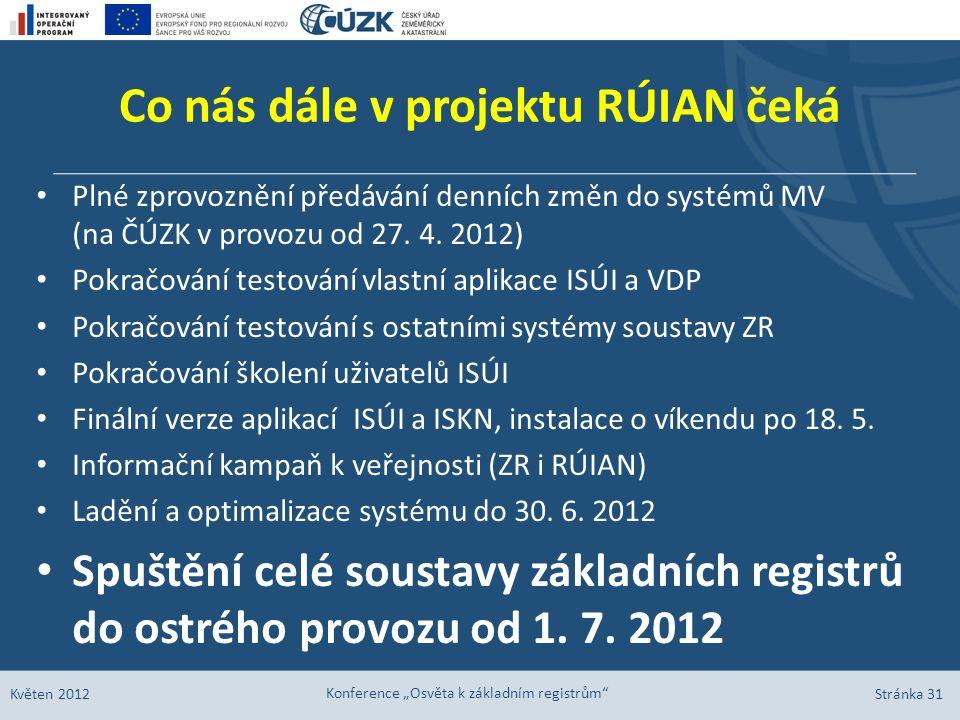 Co nás dále v projektu RÚIAN čeká Plné zprovoznění předávání denních změn do systémů MV (na ČÚZK v provozu od 27. 4. 2012) Pokračování testování vlast