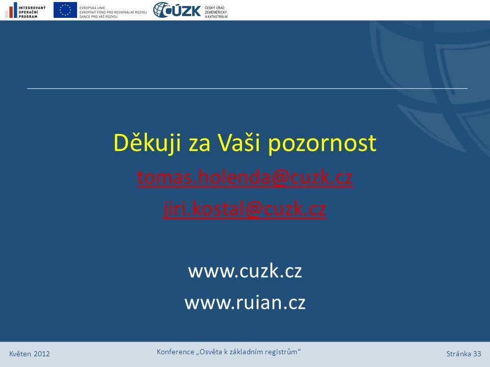 """Stránka 33 Květen 2012 Konference """"Osvěta k základním registrům"""" Děkuji za Vaši pozornost tomas.holenda@cuzk.cz jiri.kostal@cuzk.cz www.cuzk.cz www.ru"""