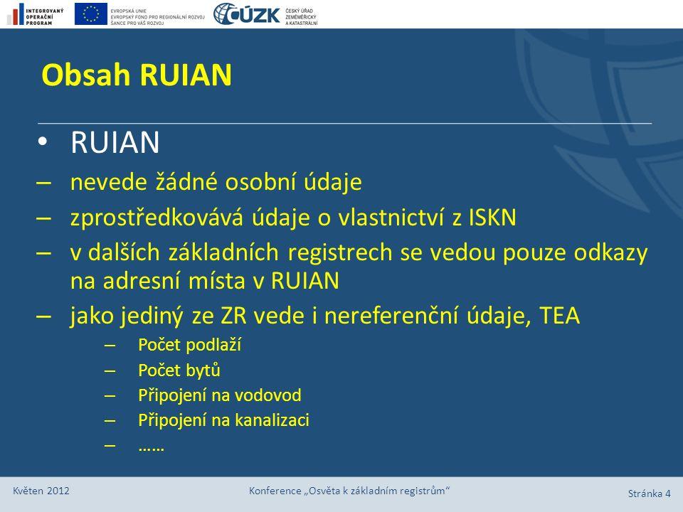 """Obsah RUIAN Stránka 4 Květen 2012 Konference """"Osvěta k základním registrům"""" RUIAN – nevede žádné osobní údaje – zprostředkovává údaje o vlastnictví z"""
