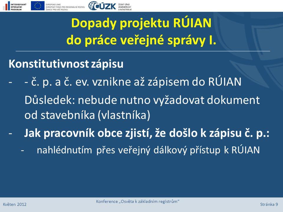 Dopady projektu RÚIAN do práce veřejné správy I. Konstitutivnost zápisu -- č. p. a č. ev. vznikne až zápisem do RÚIAN Důsledek: nebude nutno vyžadovat