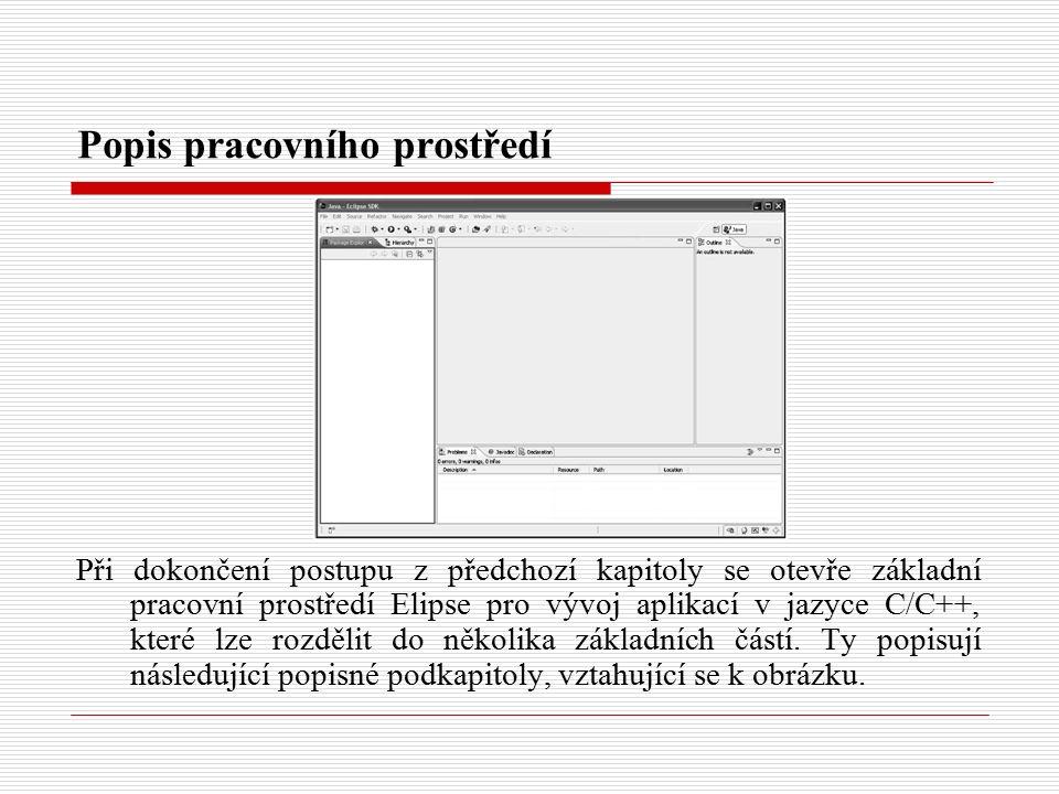 Popis pracovního prostředí Při dokončení postupu z předchozí kapitoly se otevře základní pracovní prostředí Elipse pro vývoj aplikací v jazyce C/C++, které lze rozdělit do několika základních částí.