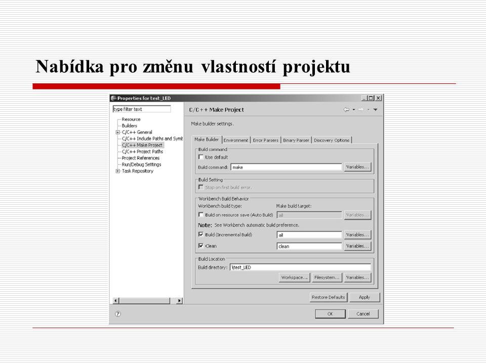 2.Záložka Error Parsers slouží k nastavení zobrazení chyb při linkování projektu.