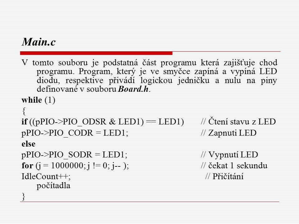 Main.c V tomto souboru je podstatná část programu která zajišťuje chod programu.