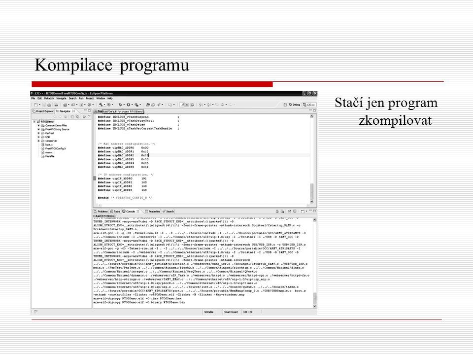 Výsledek práce Pomocí OpenOCD či SAM-BA bootloaderu nahrát binární soubor do mikrokontroléru.