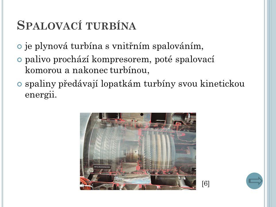 S PALOVACÍ TURBÍNA je plynová turbína s vnitřním spalováním, palivo prochází kompresorem, poté spalovací komorou a nakonec turbínou, spaliny předávají lopatkám turbíny svou kinetickou energii.