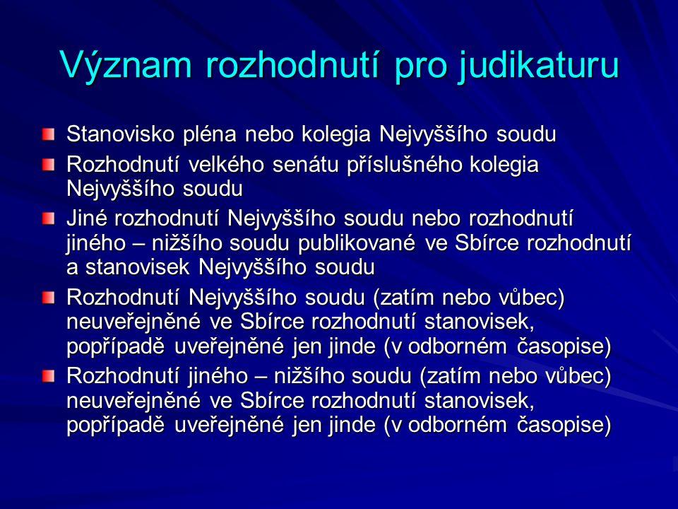 Význam rozhodnutí pro judikaturu Stanovisko pléna nebo kolegia Nejvyššího soudu Rozhodnutí velkého senátu příslušného kolegia Nejvyššího soudu Jiné ro