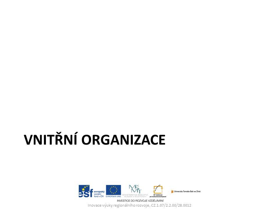 VNITŘNÍ ORGANIZACE Inovace výuky regionálního rozvoje, CZ.1.07/2.2.00/28.0012