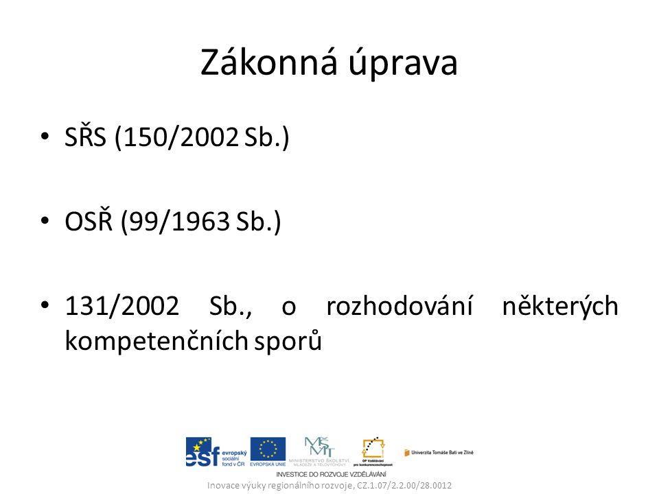 Zákonná úprava SŘS (150/2002 Sb.) OSŘ (99/1963 Sb.) 131/2002 Sb., o rozhodování některých kompetenčních sporů Inovace výuky regionálního rozvoje, CZ.1.07/2.2.00/28.0012