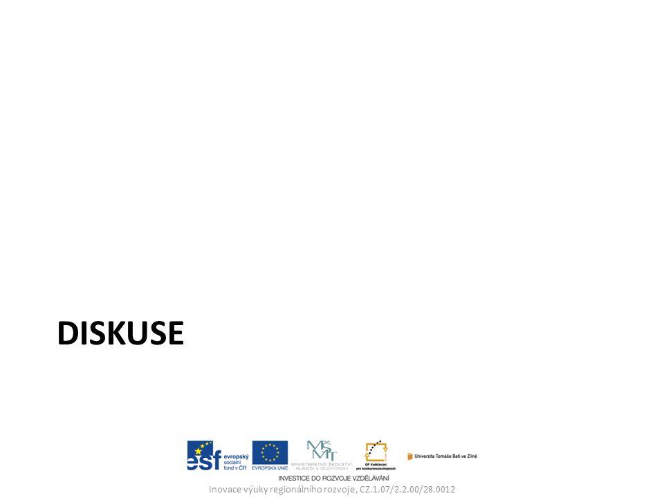 DISKUSE Inovace výuky regionálního rozvoje, CZ.1.07/2.2.00/28.0012