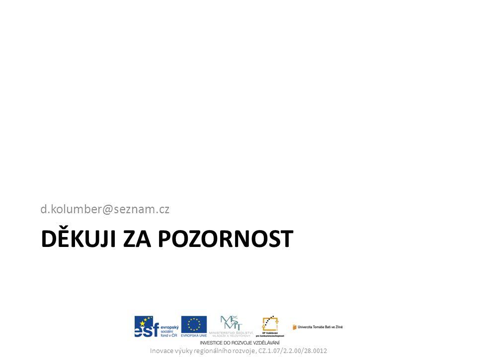 DĚKUJI ZA POZORNOST d.kolumber@seznam.cz Inovace výuky regionálního rozvoje, CZ.1.07/2.2.00/28.0012