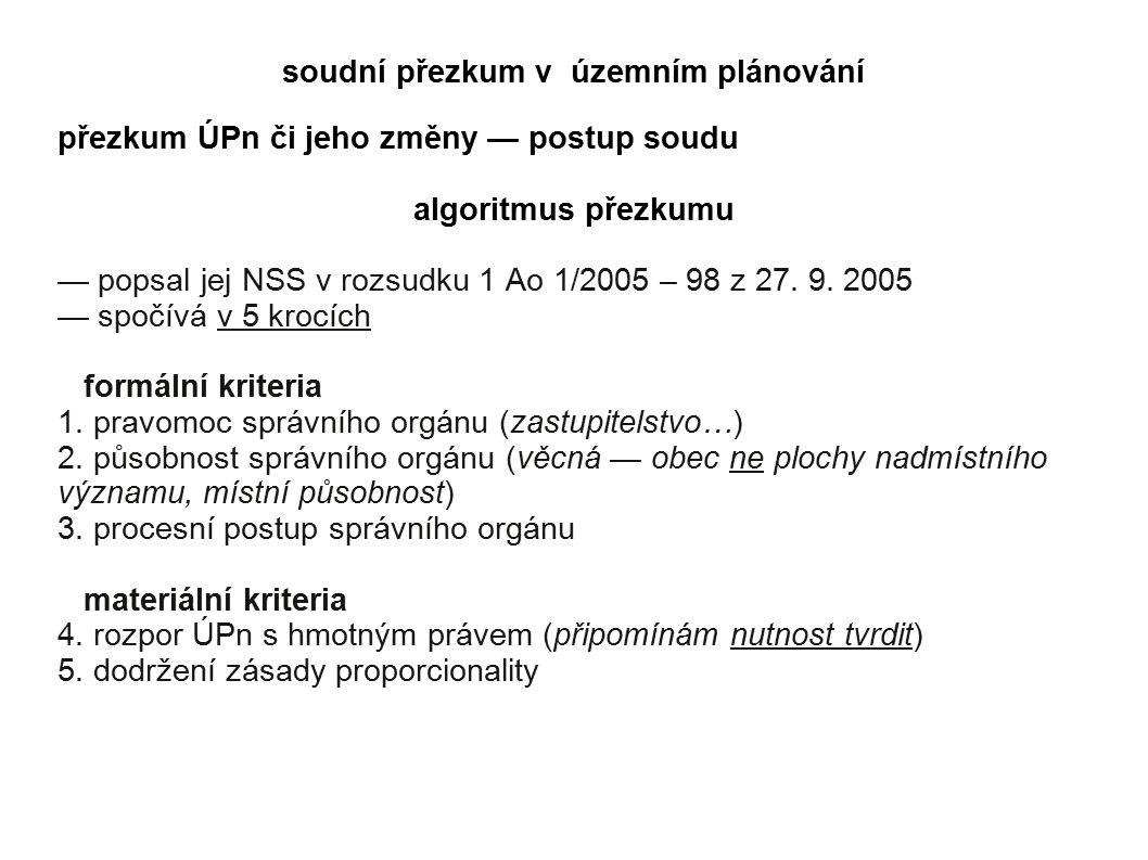 soudní přezkum v územním plánování přezkum ÚPn či jeho změny — postup soudu algoritmus přezkumu — popsal jej NSS v rozsudku 1 Ao 1/2005 – 98 z 27.
