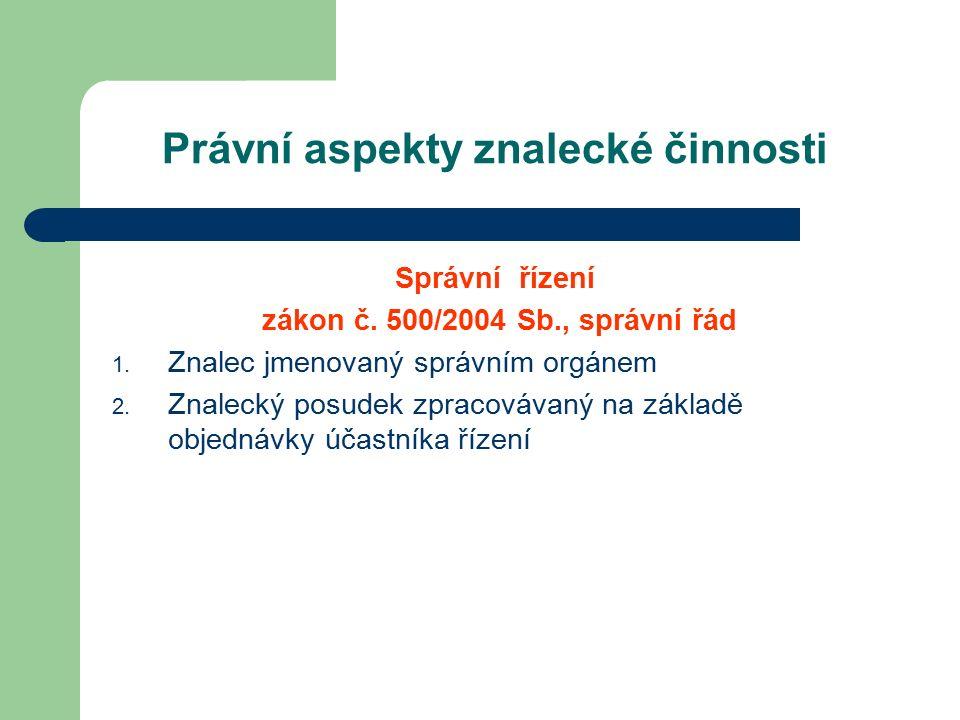 Právní aspekty znalecké činnosti Správní řízení zákon č.