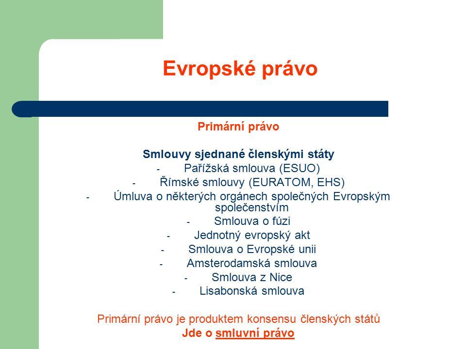 Evropské právo Primární právo Smlouvy sjednané členskými státy - Pařížská smlouva (ESUO) - Římské smlouvy (EURATOM, EHS) - Úmluva o některých orgánech společných Evropským společenstvím - Smlouva o fúzi - Jednotný evropský akt - Smlouva o Evropské unii - Amsterodamská smlouva - Smlouva z Nice - Lisabonská smlouva Primární právo je produktem konsensu členských států Jde o smluvní právo