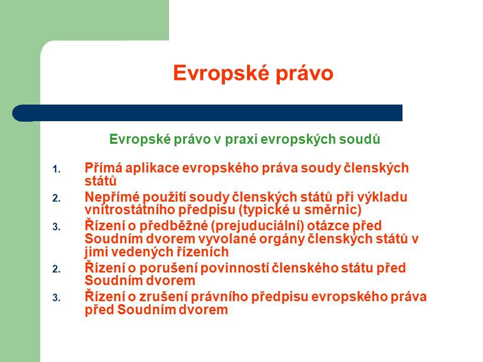 Evropské právo Evropské právo v praxi evropských soudů 1.