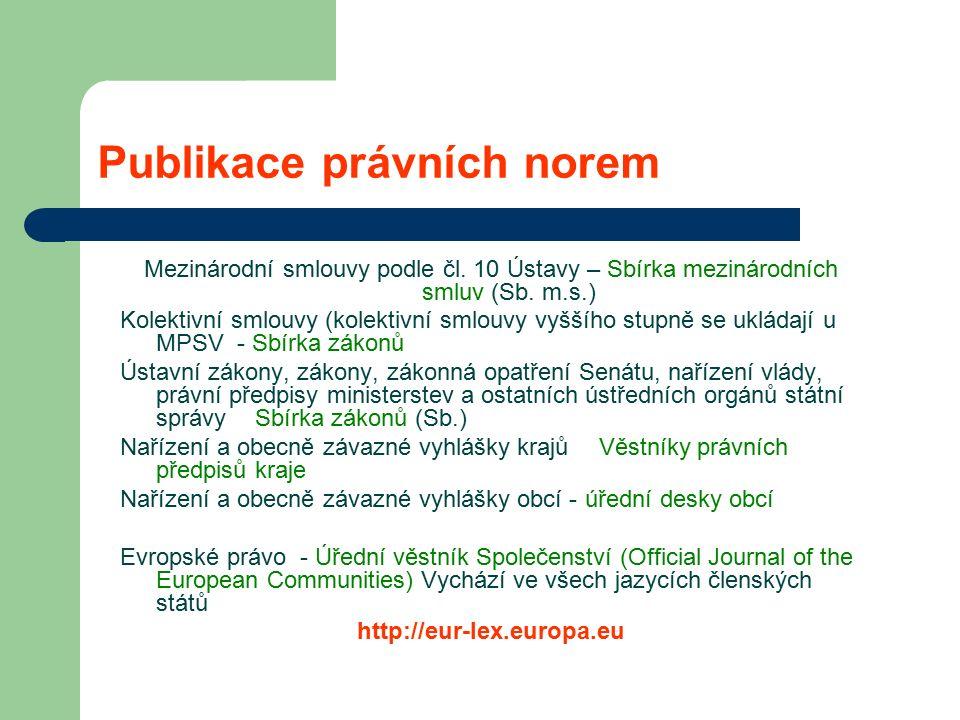 Publikace právních norem Mezinárodní smlouvy podle čl.