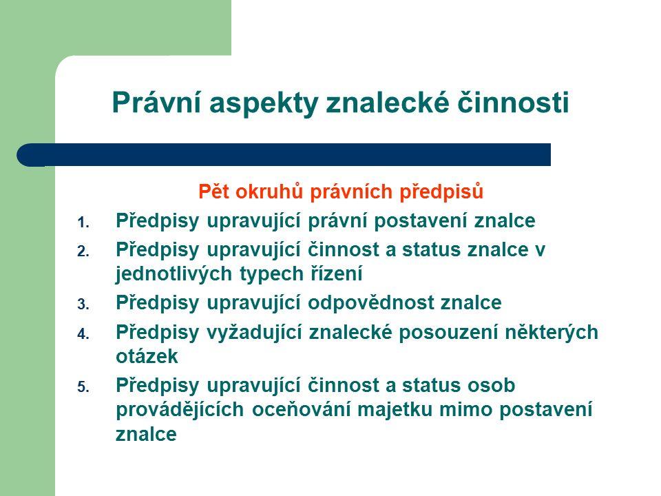 Právní aspekty znalecké činnosti Pět okruhů právních předpisů 1.