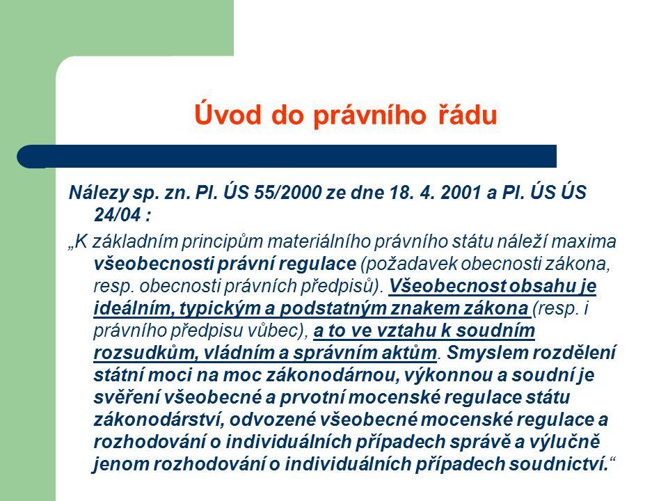 Úvod do právního řádu Nálezy sp. zn. Pl. ÚS 55/2000 ze dne 18.