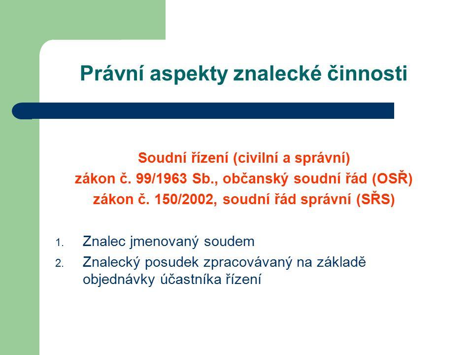 Právní aspekty znalecké činnosti Soudní řízení (civilní a správní) zákon č.