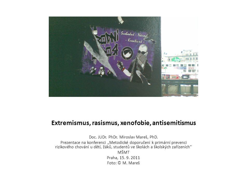 """Extremismus, rasismus, xenofobie, antisemitismus Doc. JUDr. PhDr. Miroslav Mareš, PhD. Prezentace na konferenci """"Metodické doporučení k primární preve"""
